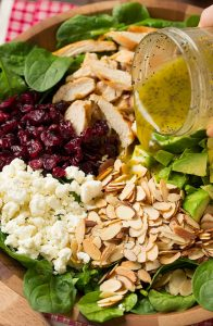 Cranberry Avocado Spinach Salad with Chicken and Orange Poppy Seed Dressing Recipe