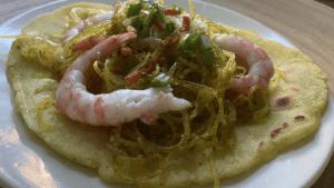 Crispy Golden Rice Tortillas With Shrimps Recipe