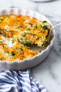 Crustless Broccoli & Cheddar Quiche Recipe