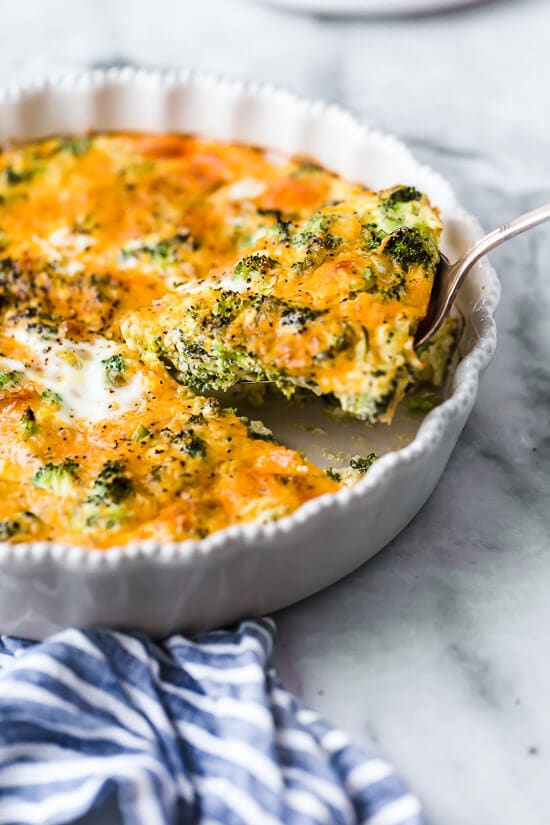 Crustless Broccoli & Cheddar Quiche Recipe