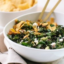 Feta Fiesta Kale Salad with Avocado and Crispy Tortilla Strips Recipe