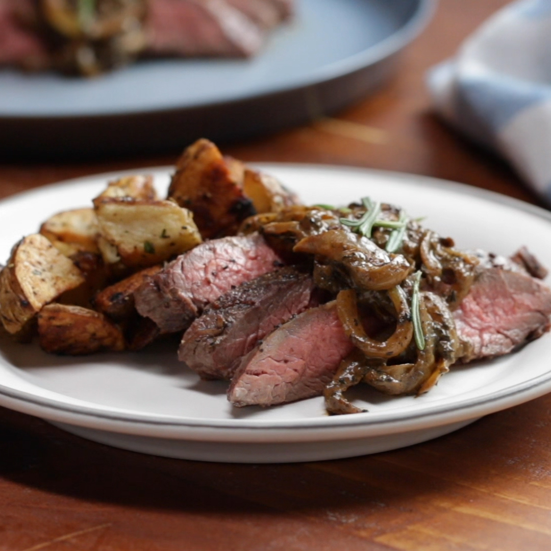 Flank Steak With Mustardy Onions And Rosemary Recipe