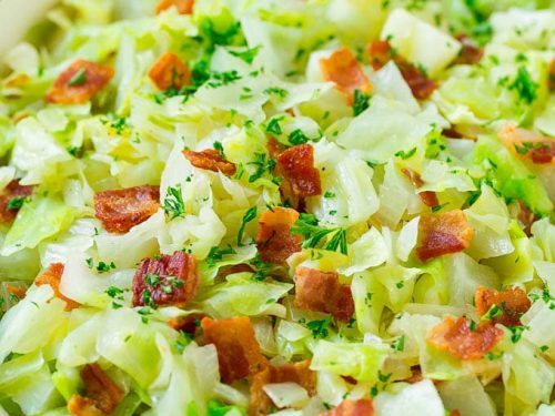 fried cabbage with bacon recipe