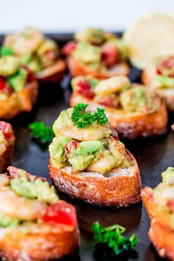 Garlic Prawn and Avocado Crostini Recipe