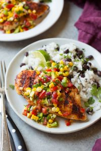 Grilled Cajun Chicken with Avocado Corn Salsa Recipe