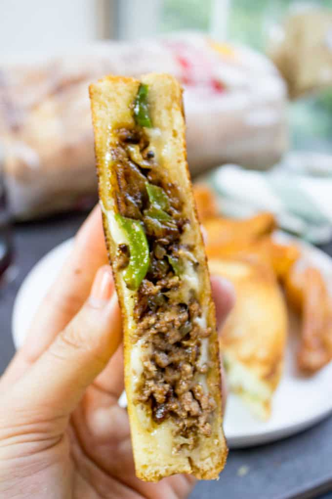 Ground Philly Cheesesteak Grilled Cheese Recipe
