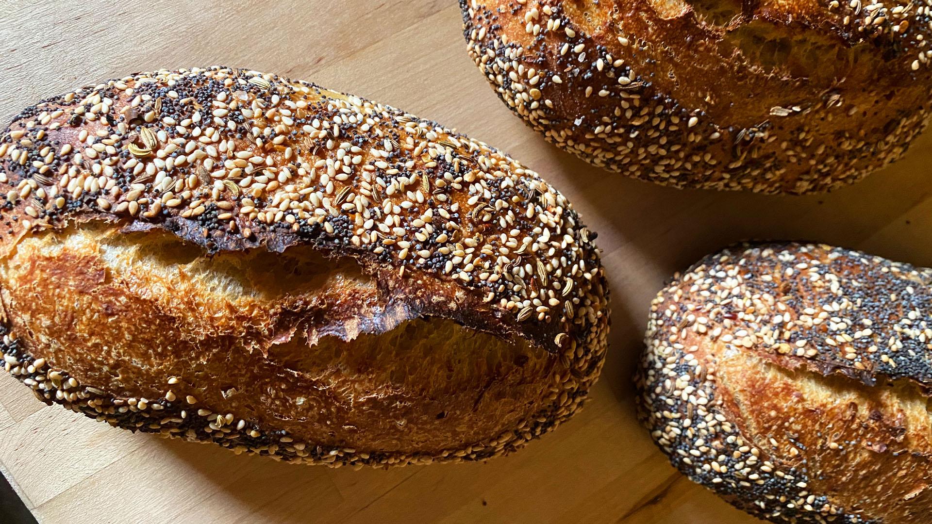 Mini Everything Seasoning Sourdough Loaves Recipe
