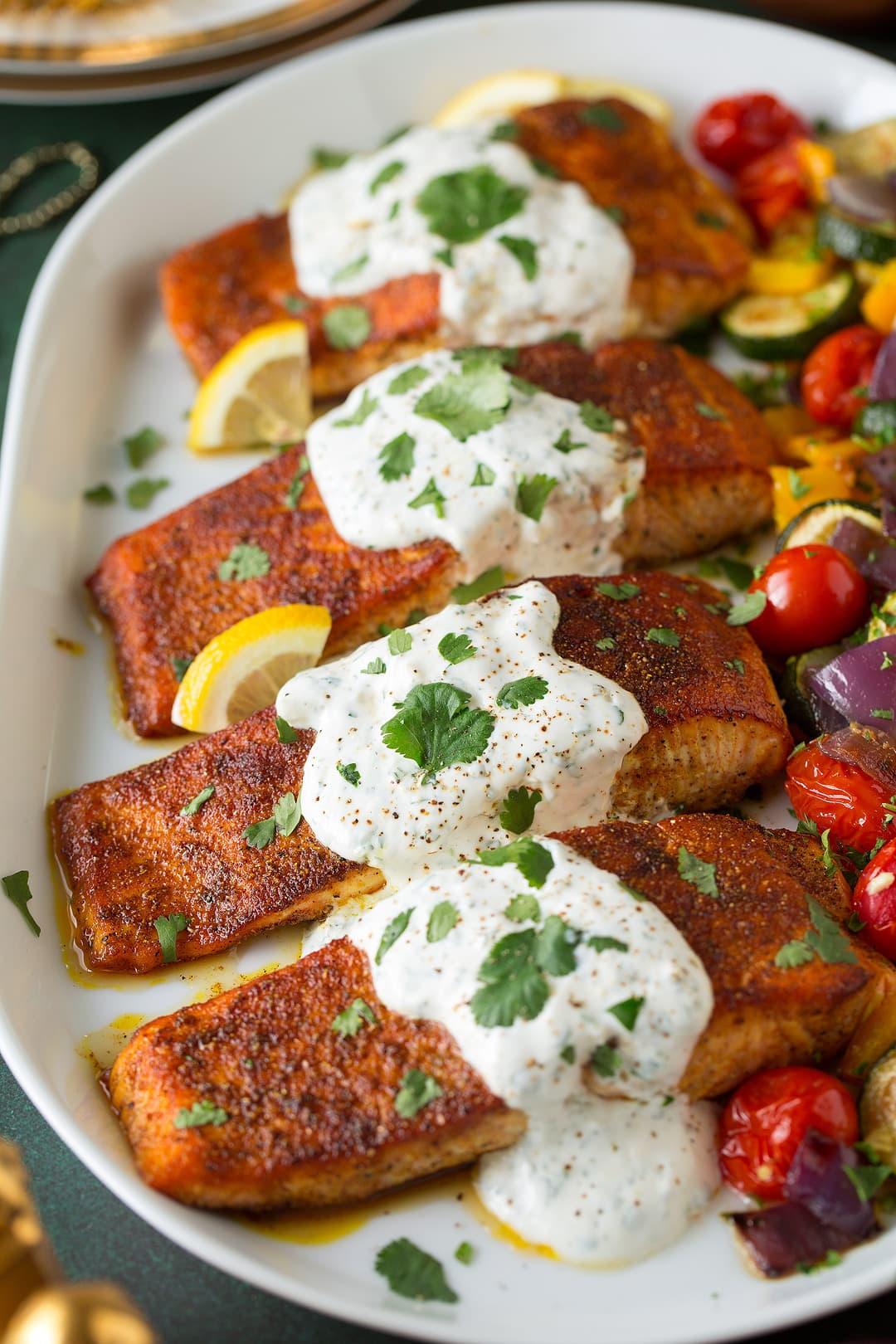 Moroccan Spiced Salmon with Lemon Yogurt Sauce Recipe