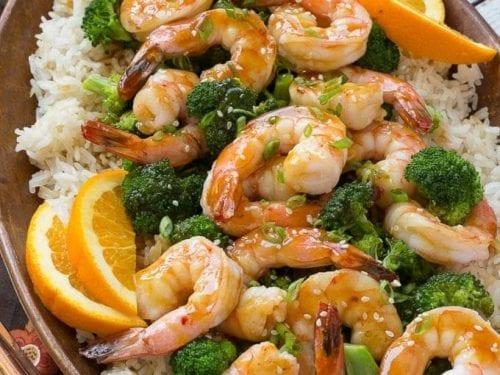orange shrimp and broccoli with garlic sesame fried rice recipe