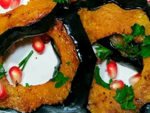 oven-roasted acorn squash with pomegranate and parsley recipe