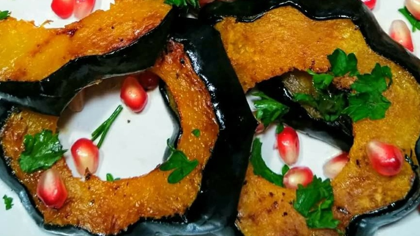 Oven-Roasted Acorn Squash With Pomegranate Recipe