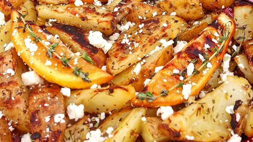 Oven-Roasted Greek Potatoes With Roasted Lemon Wedges Recipe