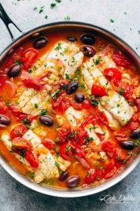 Pan Seared Fish With Tomatoes & Olives Recipe