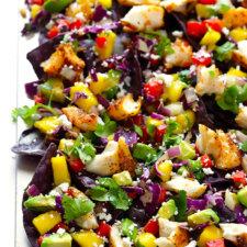 Fish Nachos with Mango Slaw Recipe