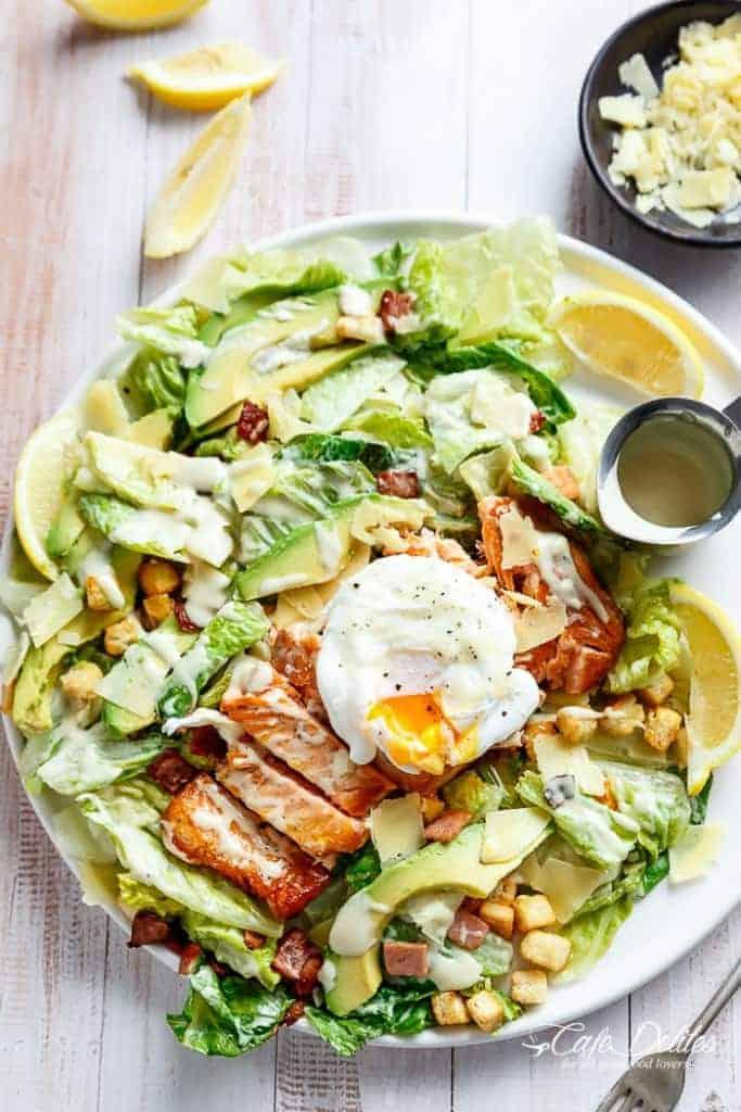 Salmon and Avocado Caesar Salad Recipe