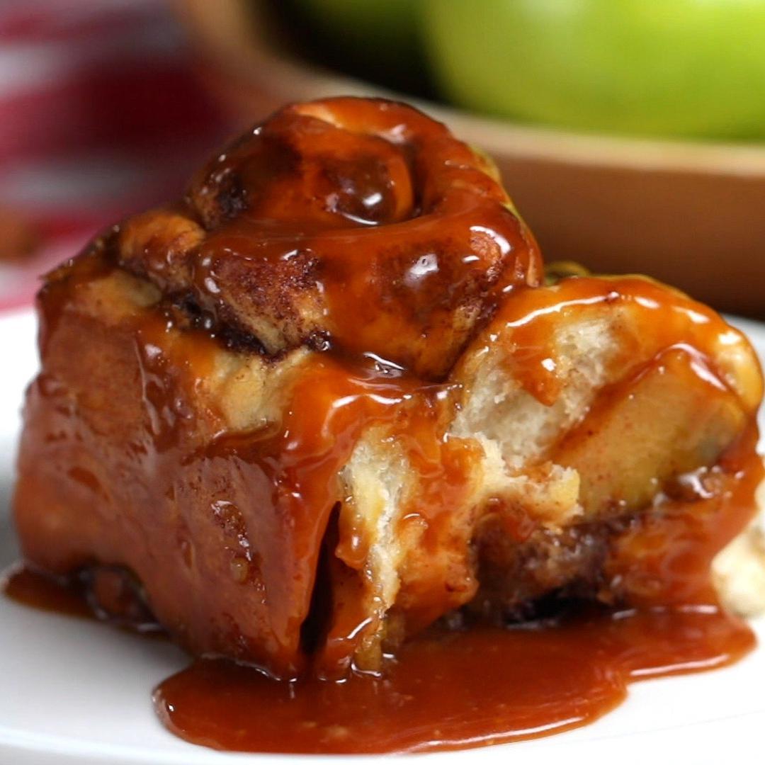 Salted Caramel Apple Cinnamon Rolls Recipe
