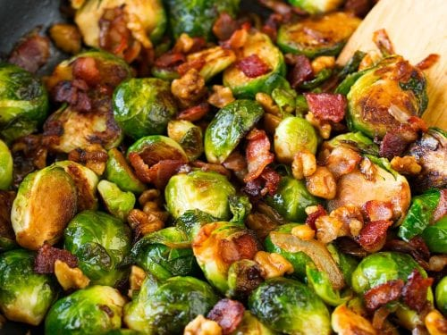 sauteed brussels sprouts with bacon onions and walnuts recipe