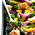 "sheet pan chicken and veggie ""stir fry"" recipe"