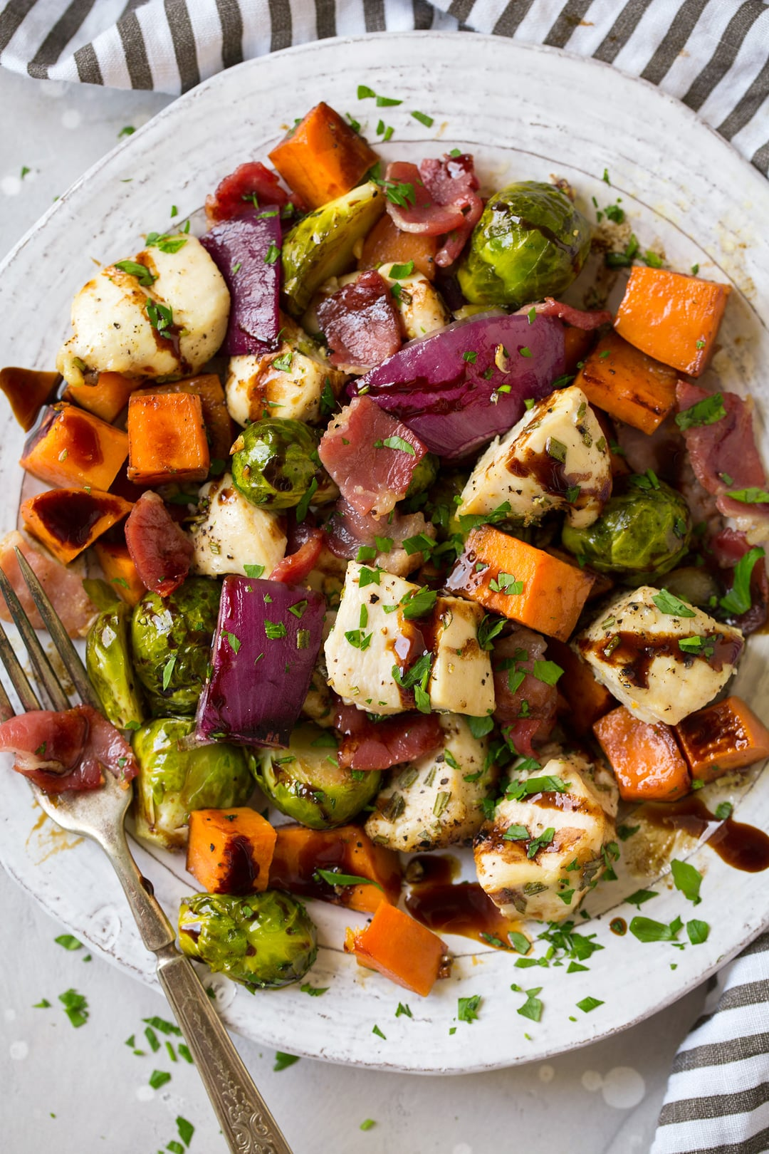 sheet pan chicken sweet potatoes and brussels sprouts with bacon and balsamic glaze recipe