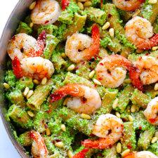 Shrimp Pasta with Broccoli Pesto Recipe