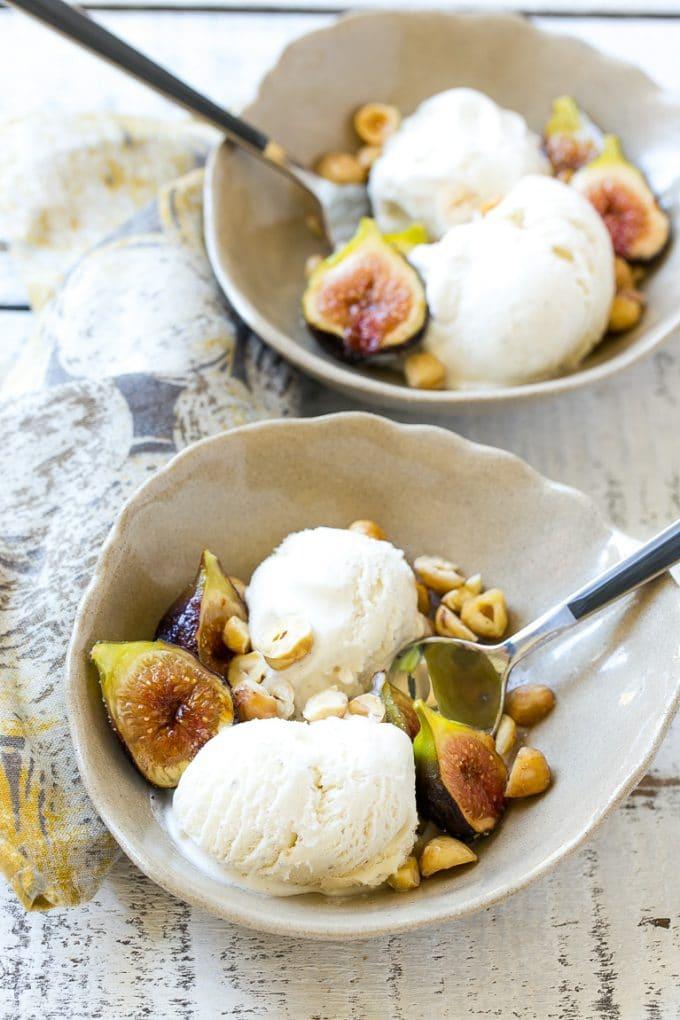 Spice Roasted Figs with Hazelnuts and Vanilla Ice Cream Recipe
