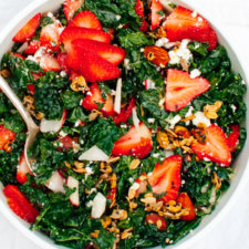 Strawberry Kale Salad with Nutty Granola Croutons Recipe