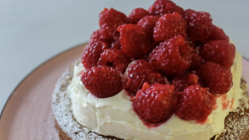 White Chocolate Chunk & Raspberry Jam Cake Recipe