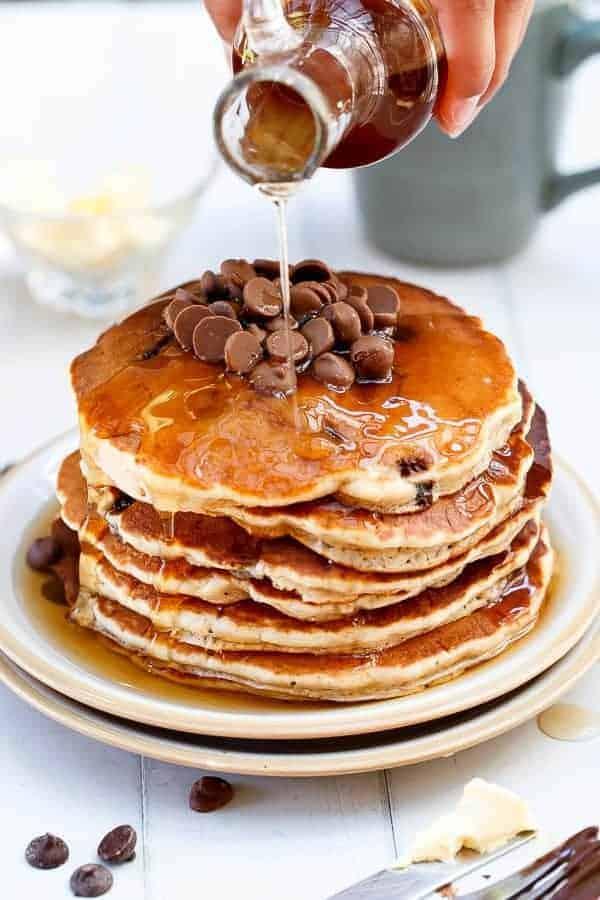Whole Wheat Choc Chip Banana Bread Pancakes Recipe