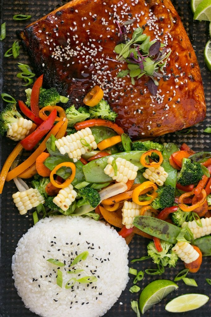 Asian Salmon with Mixed Vegetables Recipe
