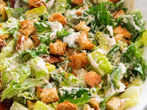 caesar salad and homemade caesar salad dressing recipe