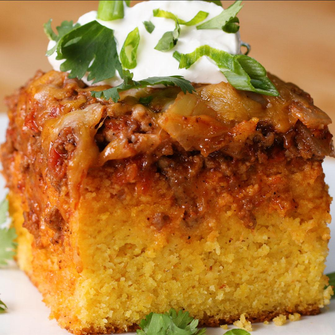 Chili-Cheese Cornbread Poke Cake Recipe