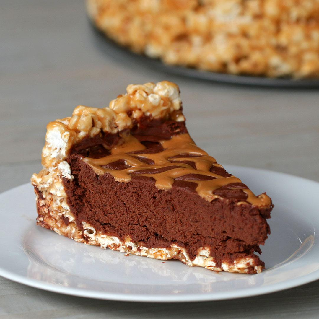 Chocolate Peanut Butter Popcorn Pie Recipe