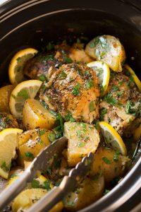 Greek Slow Cooker Lemon Chicken and Potatoes Recipe