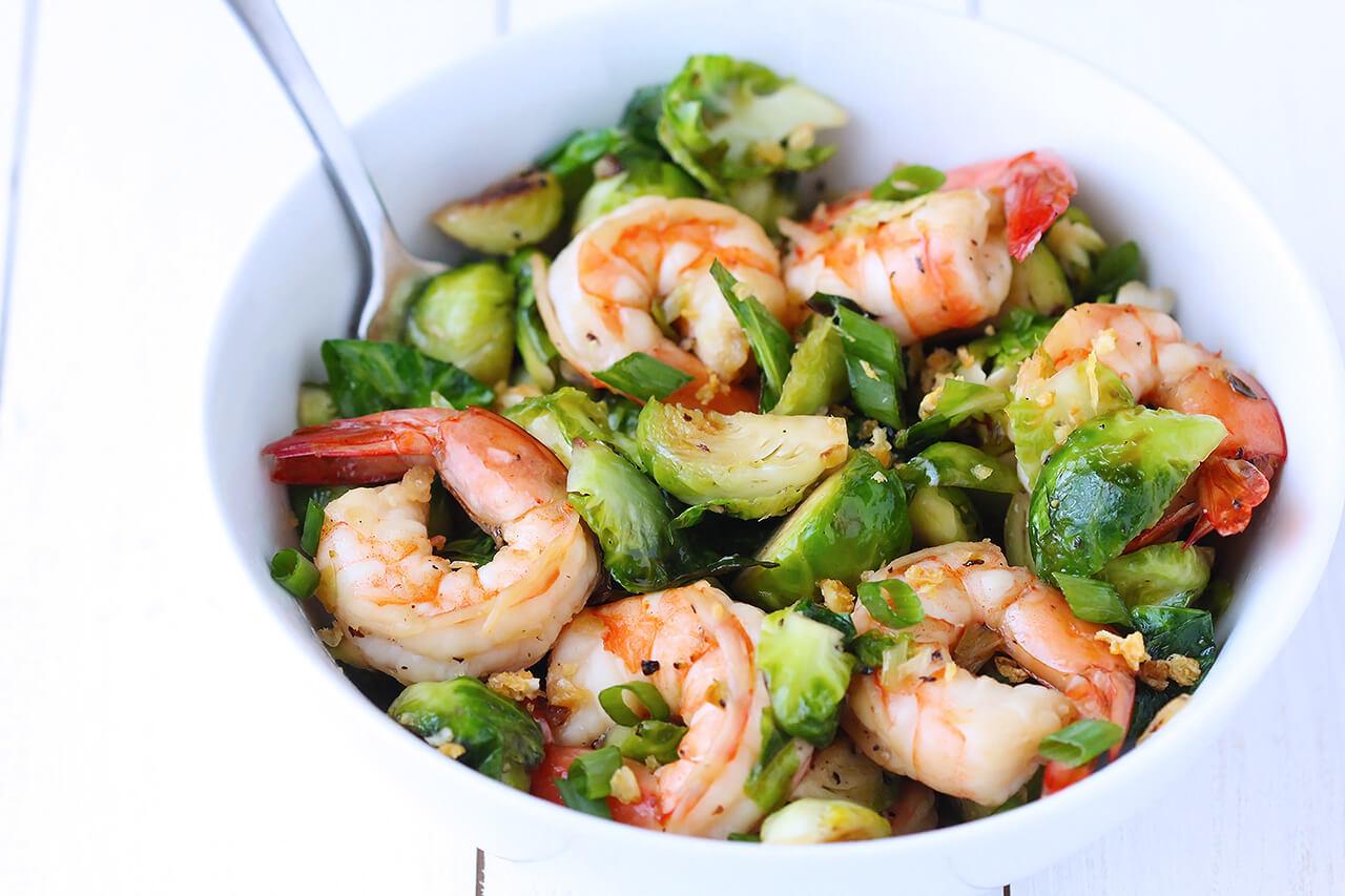 Honey Sesame Brussels Sprout Shrimp Stir Fry Recipe