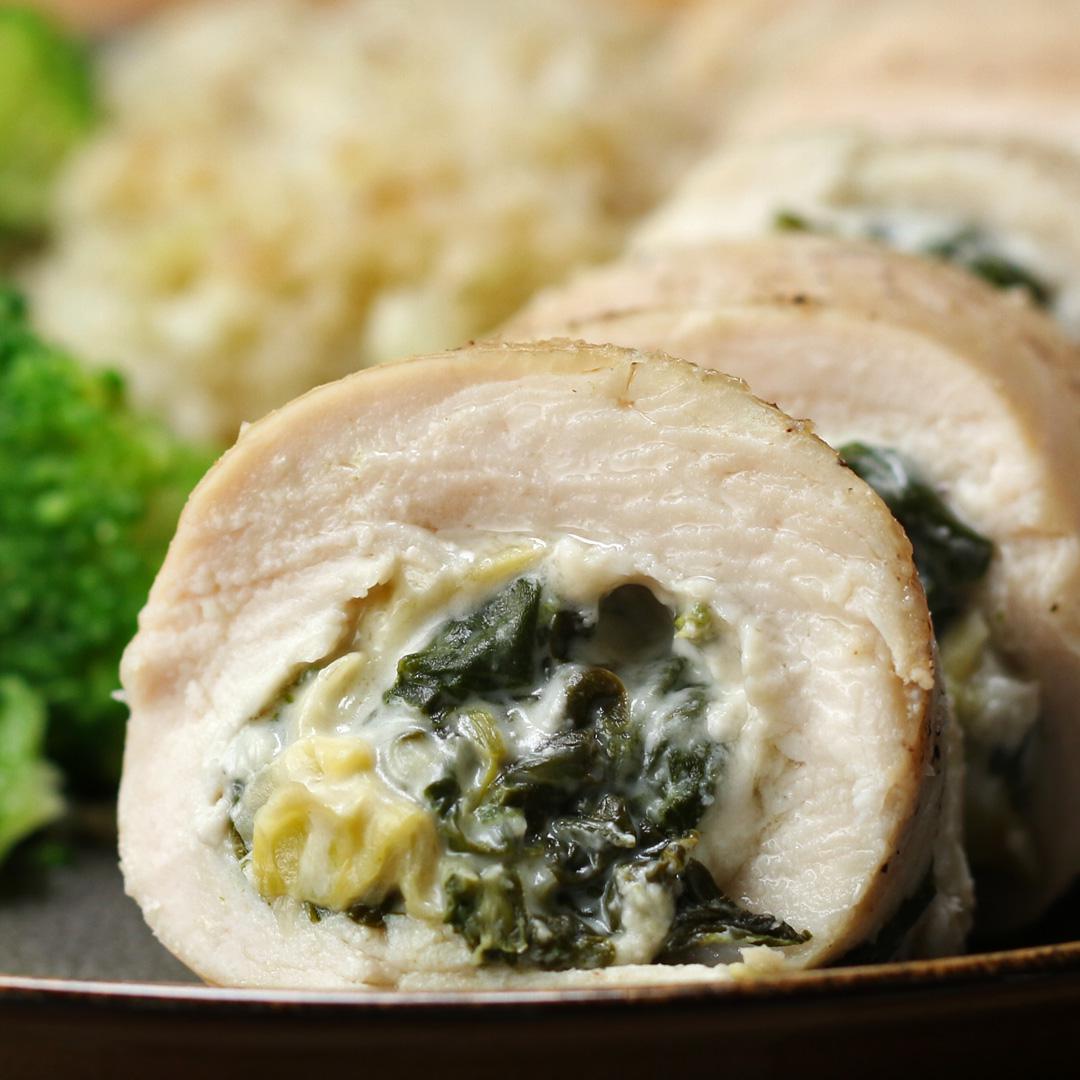 keto friendly spinach & artichoke chicken rolls recipe