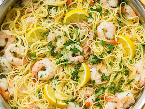 lemon-parmesan angel hair pasta with shrimp recipe