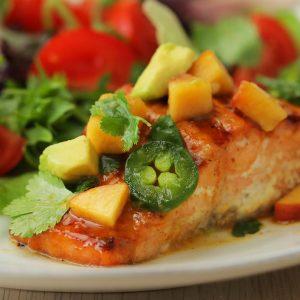 Mustard Salmon with Peach Avocado Salsa Recipe