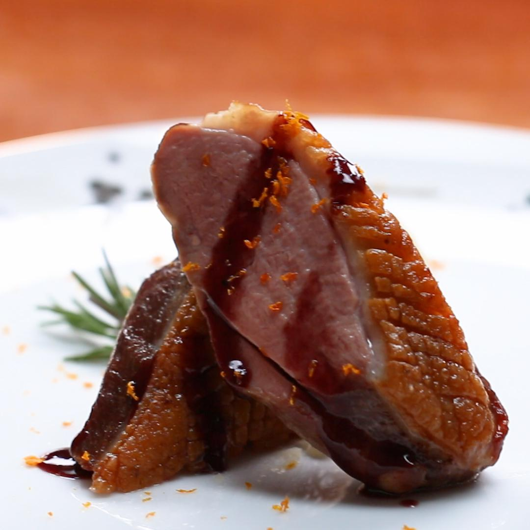 seared duck breast with red wine jus and orange, olive oil mash recipe