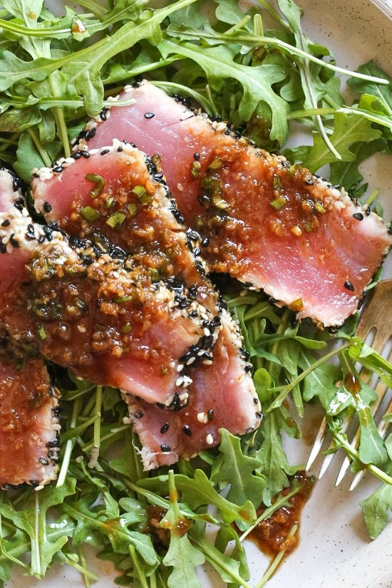 Sesame Crusted Tuna Steak on Arugula Recipe