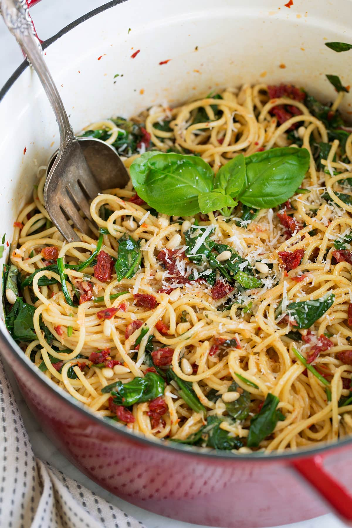 Sun Dried Tomato Pasta with Spinach Recipe