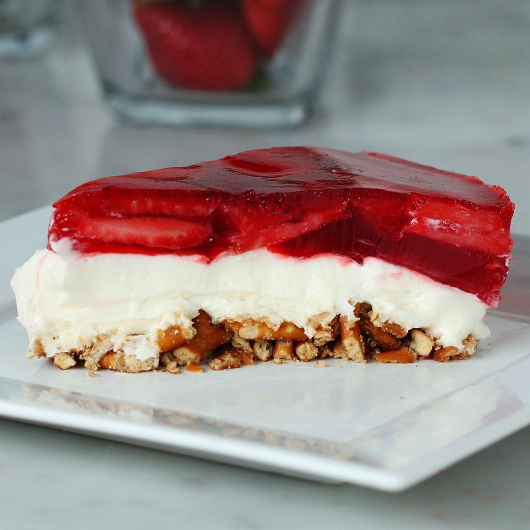 Strawberry Pretzel Cheesecake Recipe
