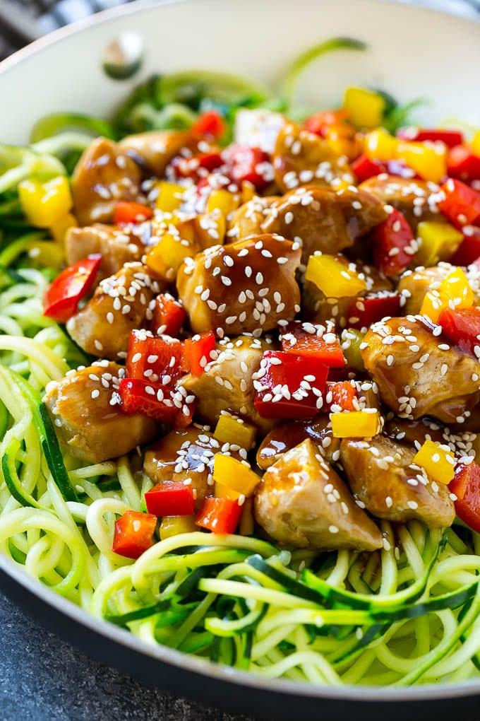 Teriyaki Chicken Zucchini Noodles Recipe