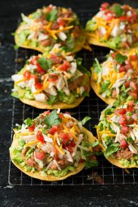 Tostadas with Chicken Guacamole and Beans Recipe