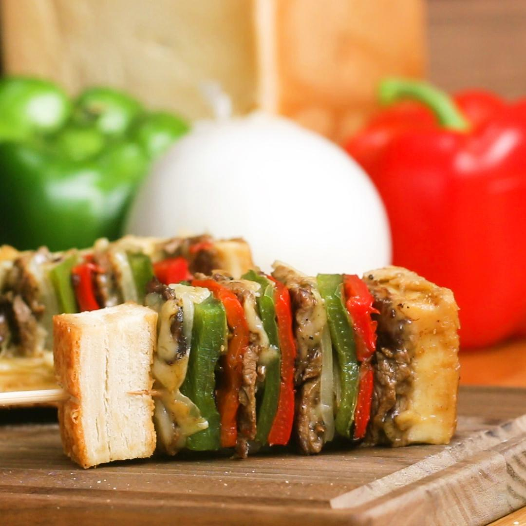 Ultimate Cheesesteak Skewers Recipe