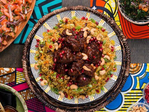 wakandan jeweled vegetable pilau with berbere braised lamb recipe