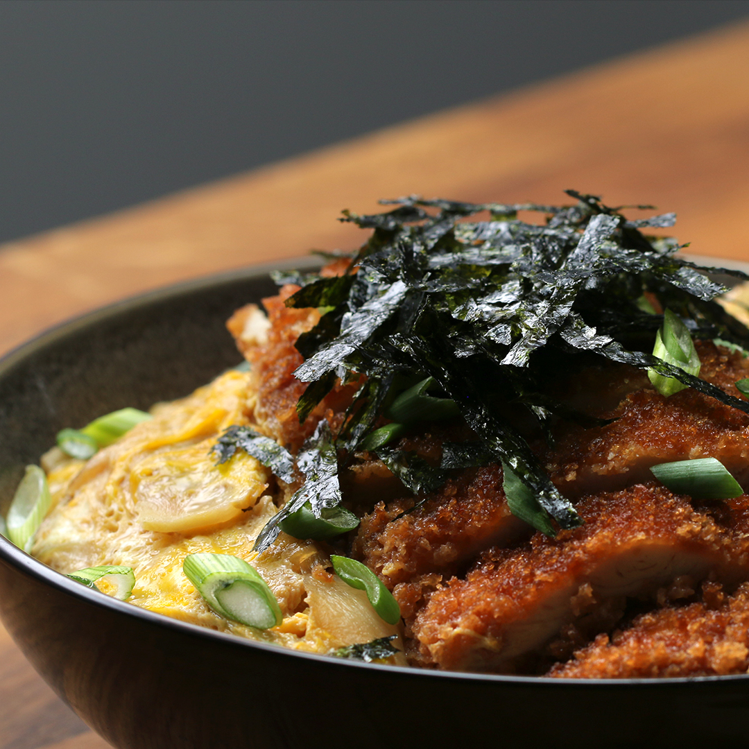 Fried Chicken and Egg Rice Bowl Recipe