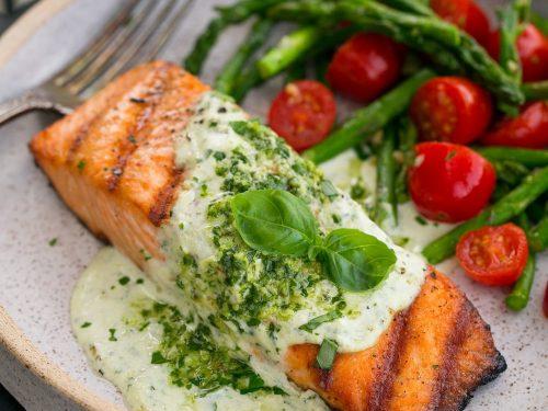 grilled salmon with creamy pesto sauce recipe