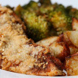 One Pan Garlic Parmesan Chicken And Vegetable Bake Recipe