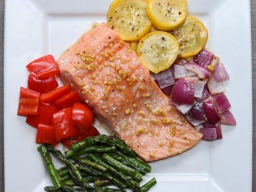 one-pan salmon and rainbow veggies recipe