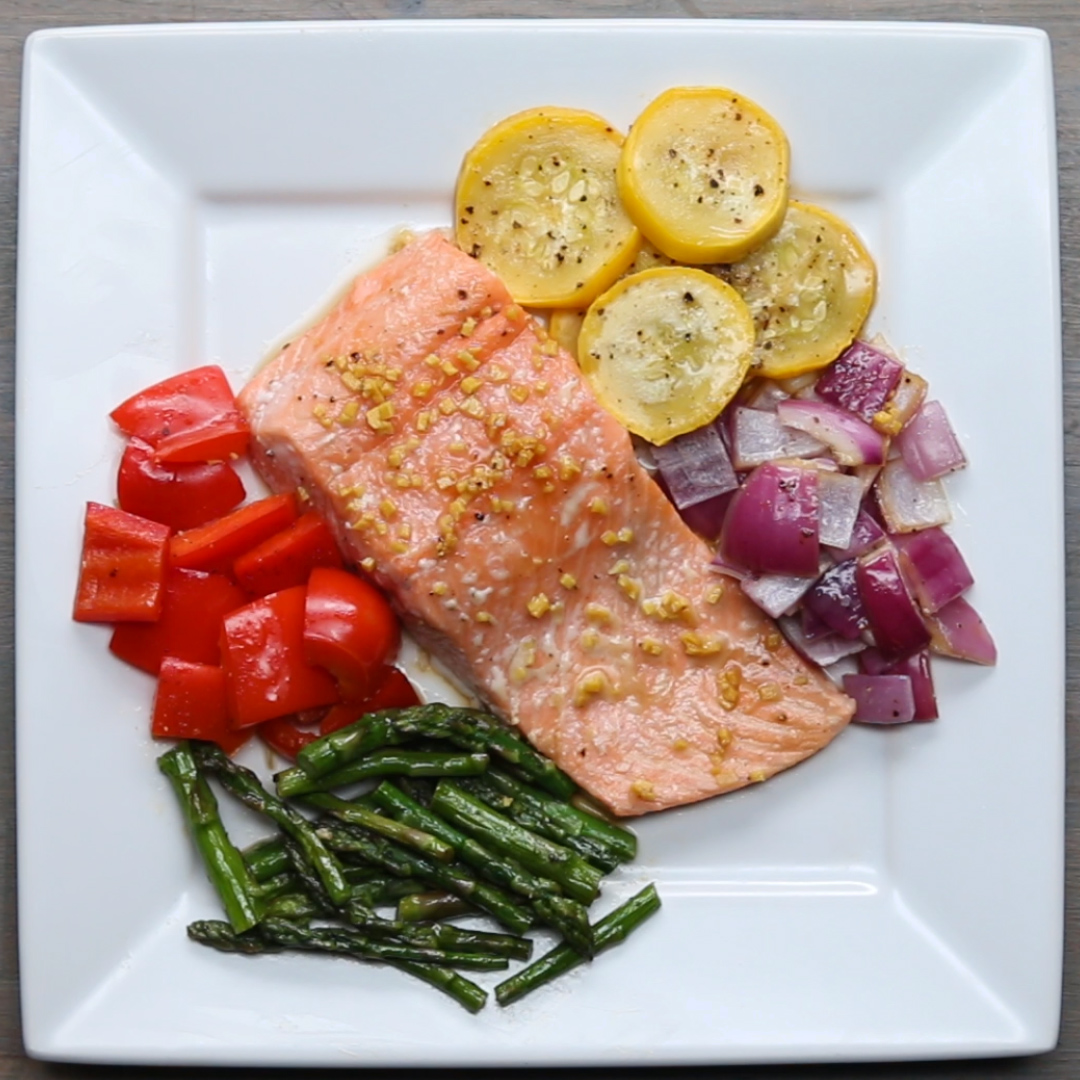 One-Pan Salmon and Rainbow Veggies Recipe